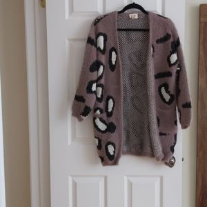 Faux fur knit cardigan animal print